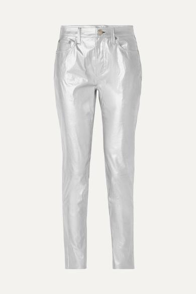 rag & bone Eng geschnittene Hose aus Metallic-Leder
