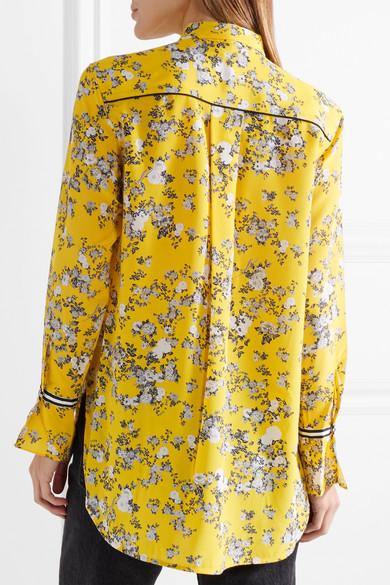 rag & bone Martel Hemd aus Seiden-Twill mit Blumendruck und Ripsbandbesatz