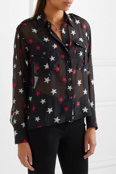 rag & bone Pearson Hemd aus Chiffon aus einer Seidenmischung mit Fil Coupé