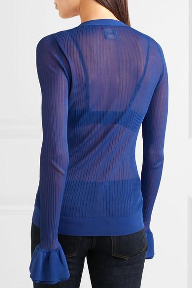 Eloise Ribbed Stretch-knit Cardigan - Cobalt blue Khaite Cheap Sale Very Cheap 132BOG64