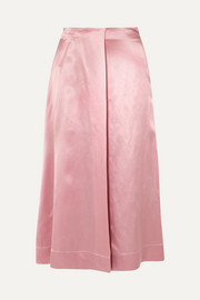 Deitas Harper wrap-effect silk-satin midi skirt