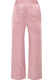 Deitas Ingrid cropped silk-satin wide-leg pants