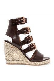 Rosario buckled leather espadrille wedge sandals