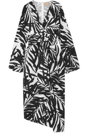 Michael Kors Collection Asymmetric printed silk crepe de chine midi dress