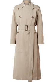 Linen and silk-blend trench coat