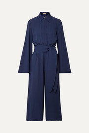 Cropped silk-georgette jumpsuit