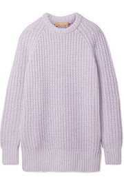Ribbed cashmere and linen-blend sweater