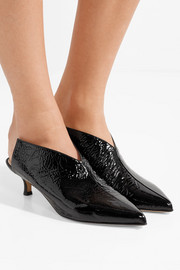Tibi Jase crinkled patent-leather mules