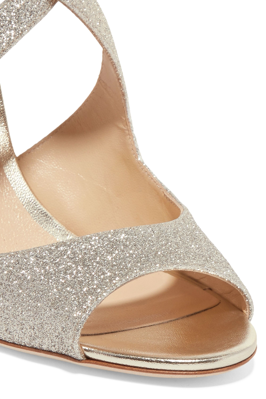 Jimmy Choo Emily 85 glittered leather sandals