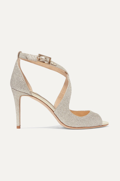 Jimmy Choo Sandals Emily 85 glittered leather sandals