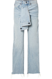 Stack Tie tie-front distressed high-rise straight-leg jeans
