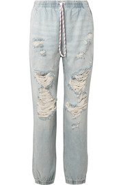 Alexander Wang Distressed low-rise tapered jeans