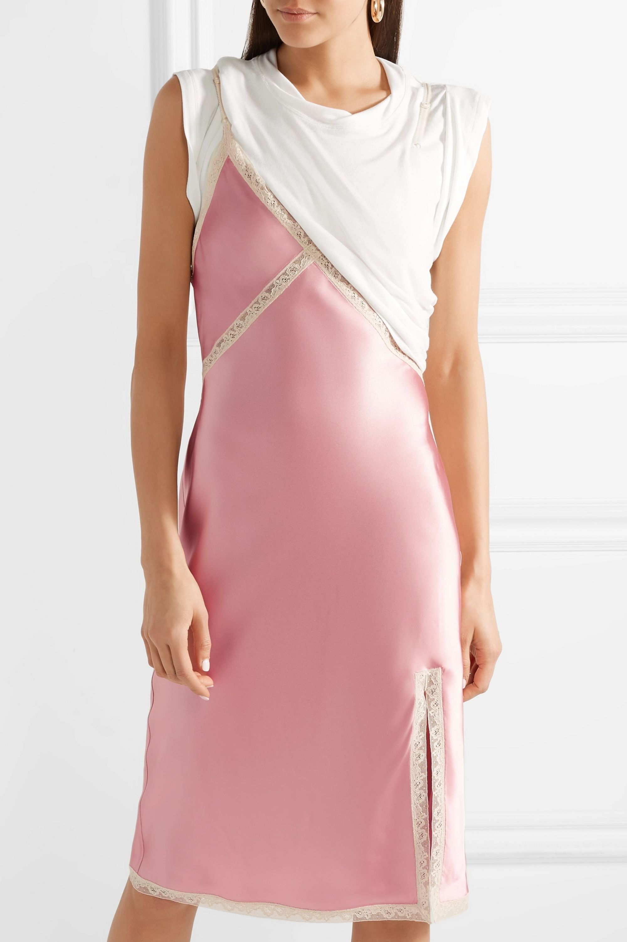 Alexander Wang Layered lace-trimmed satin and jersey dress