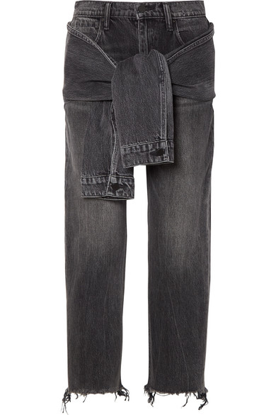 Tie-front Frayed High-rise Straight-leg Jeans - Dark gray Alexander Wang 1cW9UO4Jl0