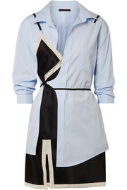 Alexander Wang Layered lace-trimmed satin and cotton-poplin mini dress