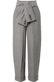 Tie-front wool and mohair-blend tapered pants