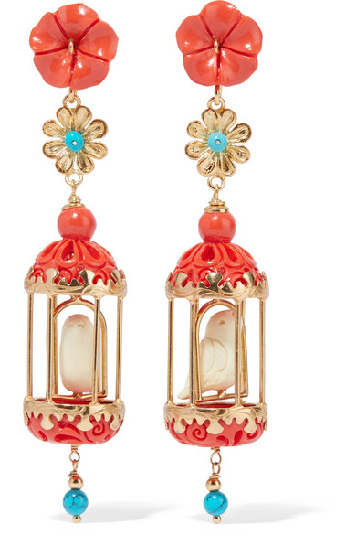 Of Rare Origin - Aviary Gold Vermeil Multi-stone Earrings - Coral