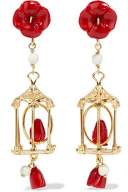 Pagoda gold vermeil multi-stone earrings