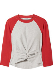 Twist-front two-tone cotton-jersey top