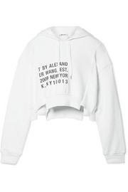 T by Alexander Wang Fleece-paneled printed cotton-jersey hooded top