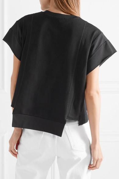 T by Alexander Wang Bedrucktes T-Shirt aus Baumwoll-Jersey in Waffelstrick