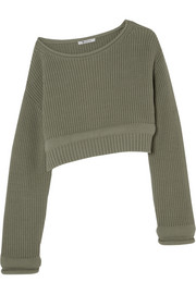 T by Alexander Wang Cropped off-the-shoulder cotton-blend sweater