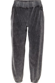 T by Alexander Wang Cotton-blend velour track pants