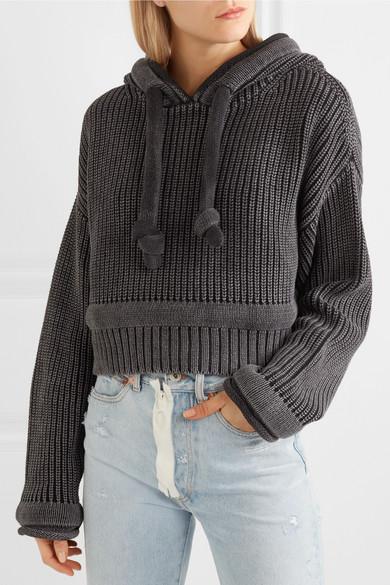 T by Alexander Wang Verkürzter Kapuzenpullover aus Baumwolle