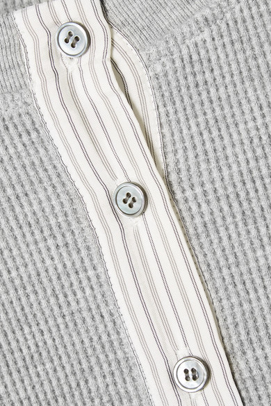 T by Alexander Wang Verkürzter Pullover aus Baumwolle in Waffelstrick mit gestreiften Popelinebesätzen