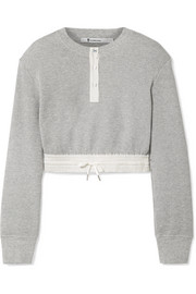T by Alexander Wang Cropped striped poplin-trimmed waffle-knit cotton sweater