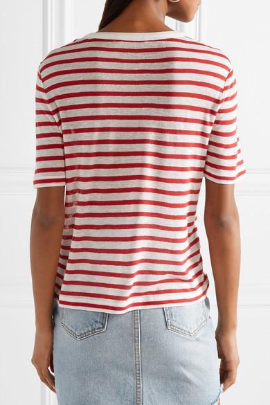 T by Alexander Wang Gestreiftes T-Shirt aus Stretch-Jersey mit Flammgarneffekt