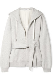 T by Alexander Wang Belted cotton-fleece hooded top