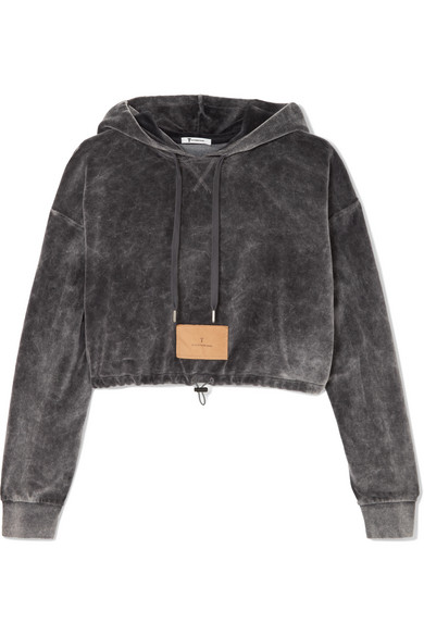 T By Alexander Wang Truncated Hood Uppers Of Velours From A Cotton Blend