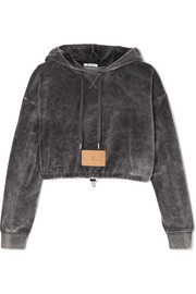 T by Alexander Wang Cropped cotton-blend velour hooded top