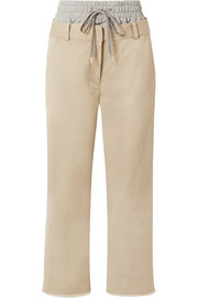 T by Alexander Wang Layered cotton-gabardine and stretch-jersey straight-leg pants