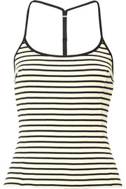 T by Alexander Wang Striped waffle-knit cotton tank