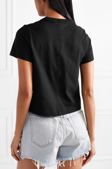 T by Alexander Wang Verkürztes T-Shirt aus Baumwoll-Jersey mit Stretch-Anteil