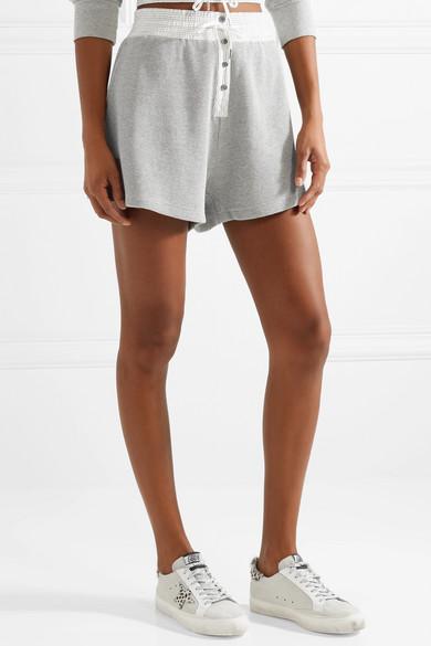 T by Alexander Wang Shorts aus Baumwolle in Waffelstrick mit Besatz aus gestreifter Popeline