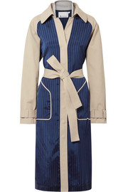Cotton-gabardine and striped satin-twill trench coat