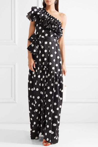 Rhea One-shoulder Ruffled Polka-dot Cotton-blend Poplin Maxi Dress - Black Caroline Constas 2vzkz