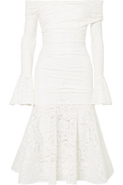 Leda off-the-shoulder ruched stretch-lace midi dress
