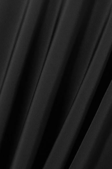 Verkauf In Mode Geniue Händler Günstig Online Fleur Du Mal Asymmetrisches Midikleid aus Seidensatin und Crêpe mit Lederbesatz 2018 Günstig Online Verkauf Geschäft LEWizrov4x