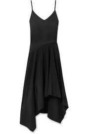 Fleur Du Mal Leather-trimmed asymmetric silk-satin and crepe midi dress