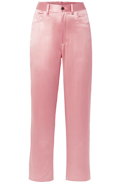 Fleur Du Mal Pants With Wide Leg From Silk Satin