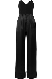 Fleur Du Mal Strapless crepe and silk-satin jumpsuit