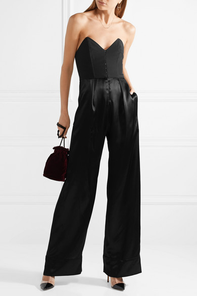 Strapless Crepe And Silk Satin Jumpsuit by Fleur Du Mal