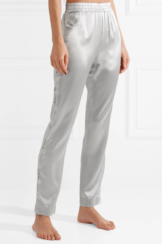 Fleur du Mal Lace-trimmed silk-satin pajama pants