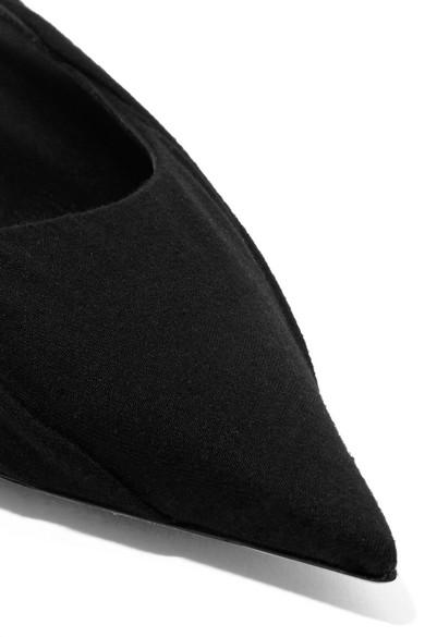 Balenciaga | Knife flache Schuhe aus Jersey und und Leder mit spitzer Kappe und und Logoprint 80adc7