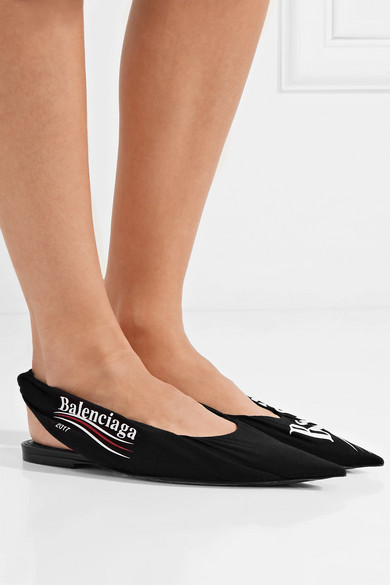 3be5790f75 ... Knife and toe flats point leather logo jersey print Balenciaga RfdFvR  ...