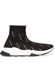 Balenciaga Speed printed stretch-knit high-top sneakers